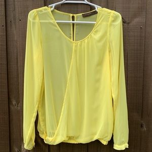 THE LIMITED Yellow Sheer Long Sleeve Blouse